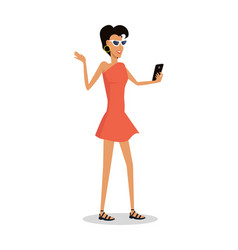 Woman on vacation with mobile phone makes selfie vector