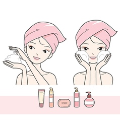 Girl washing face with foam vector