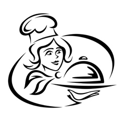 Young waitress with food tray vector