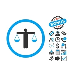 Lawyer flat icon with bonus vector