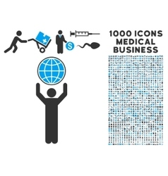 Globalist icon with 1000 medical business symbols vector