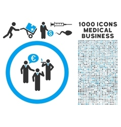 Euro discuss persons icon with 1000 medical vector