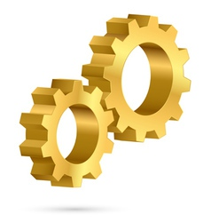 Golden gearwheel vector