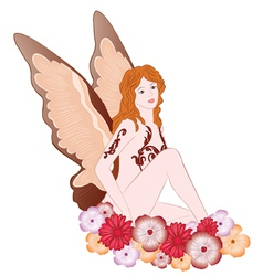 Fairy with flowers vector