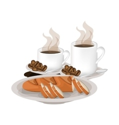 Isolated baguette and coffee mug design vector