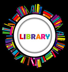 Library round frame with books vector