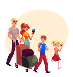 Family of four pushing luggage cart at airport vector