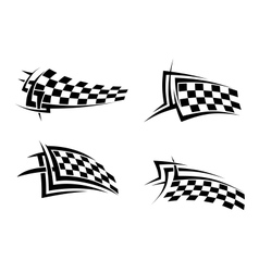 Tribal signs with checkered flags vector