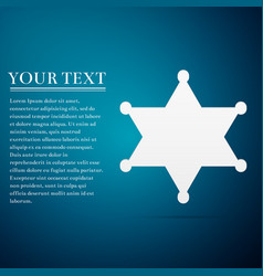 Hexagram sheriff star badge flat icon on blue vector