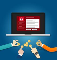 Wanna cry hacker malware concept of lock folder vector