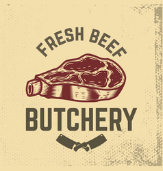 Fresh beef butchery hand drawn raw meat on grunge vector