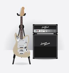 Electric guitar with guitar amplifier vector