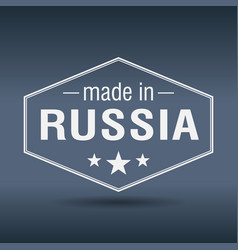 Made in russia hexagonal white vintage label vector