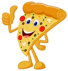Happy pizza cartoon with thumb up vector image