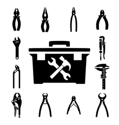 Set icons of tools vector