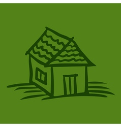 House sketch on green background vector