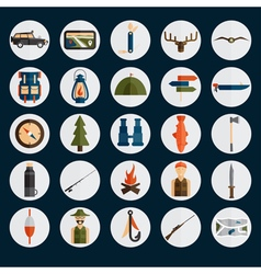 flat design icons of fishing and hunting theme vector image