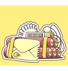 Envelope with red dynamite on yellow back vector