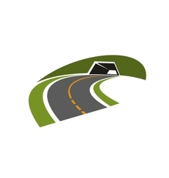 Road tunnel through green hill icon vector