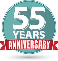 Flat design 55 years anniversary label with red vector