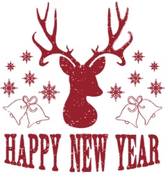 Happy new year with christmas deer vector