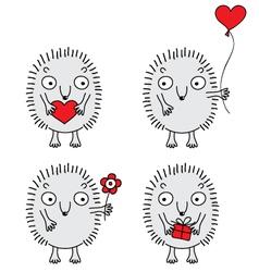 cute hedgehogs set vector image