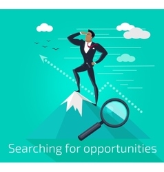 Businessman searching for opportunities vector