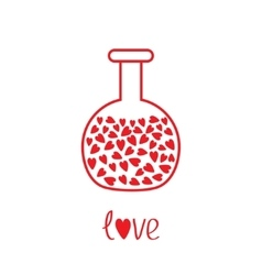 Love round laboratory glass with hearts inside vector