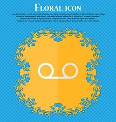 audio cassette Floral flat design on a blue vector image