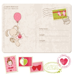 baby girl greeting postcard with set of stamps vector image vector image