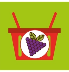 Basket shopping grapes juicy fruit vector