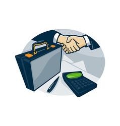 Business handshake deal briefcase retro vector