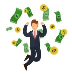 Businessman Success Concept Money and Golden Coin vector image vector image