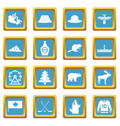 canada travel icons azure vector image