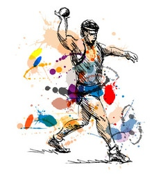 Colored hand sketch athlete ball thrower vector image vector image