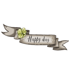 Decorative card with kraft ribbon and wildflower vector