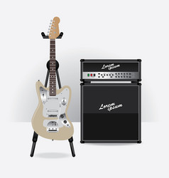 electric guitar with guitar amplifier vector image vector image