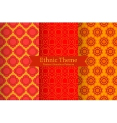 Ethnic oriental geometric seamless patterns vector