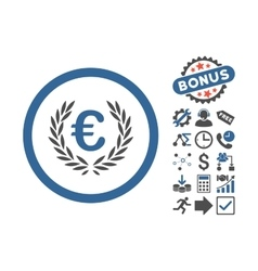Euro glory flat icon with bonus vector