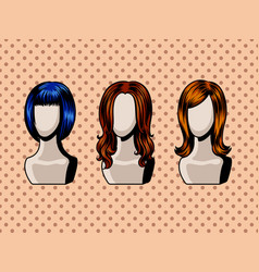 Female wigs comic book style vector
