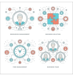 Flat line Management Team Building Success vector image vector image