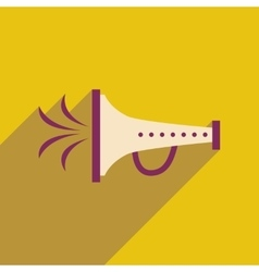 Flat web icon with long shadow megaphone carnaval vector
