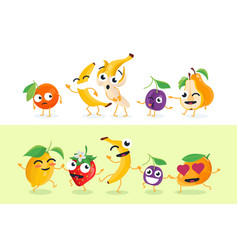 Funny fruit - set of isolated characters vector