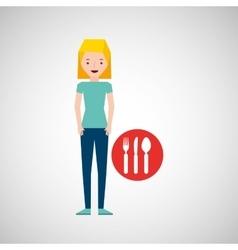 girl cartoon traveler and restaurant icon design vector image vector image