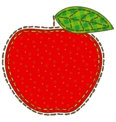 Isolated Patchwork Red Apple vector image vector image