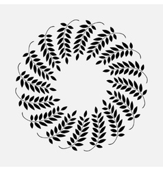 Laurel ring wreath tattoo black ornament sign on vector