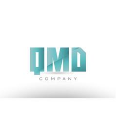 Qmd q m d alphabet three 3 letter green logo icon vector