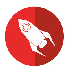 Rocket startup launch icon shadow vector