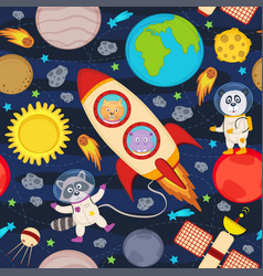 Seamless pattern with rocket and animals vector