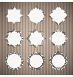 Set of Black Thin Line Vintage Frames with White vector image vector image